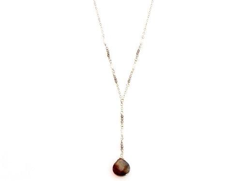Labradorite and Pearl Gold Necklace with Labradorite Drop