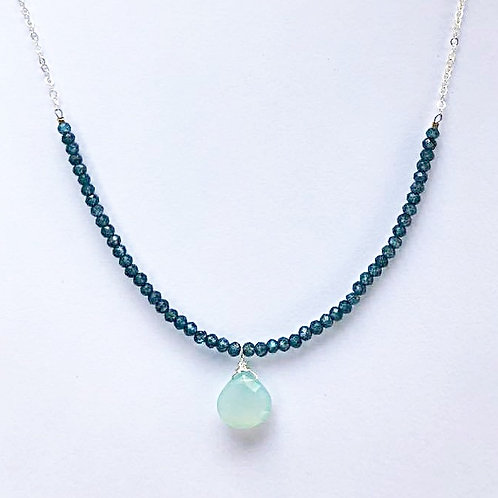 London Blue Topaz with Chalcedony Drop Silver Necklace