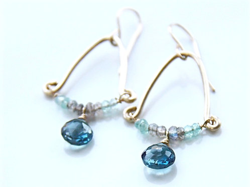 Gold London Blue Topaz, Labradorite and Apatite Rondelle Earrings