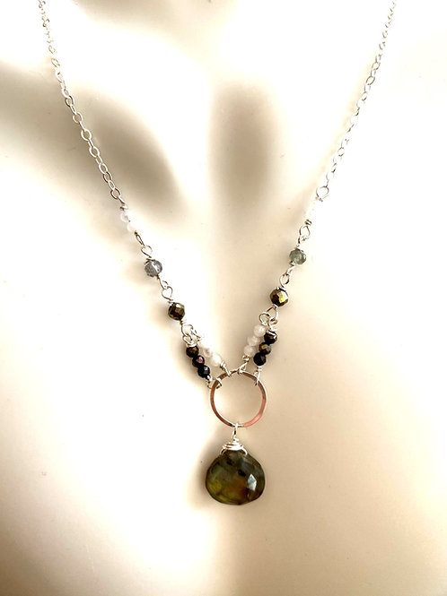 Labradorite drop with pyrite and moonstone rondelles on sterling silver