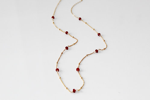 Gold Beaded Ruby Necklace