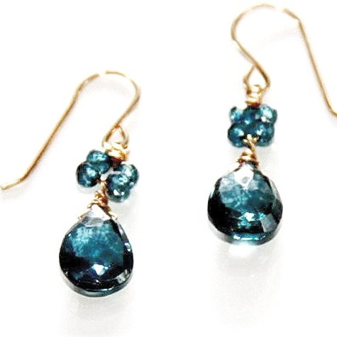 London Blue Topaz Gold Earrings