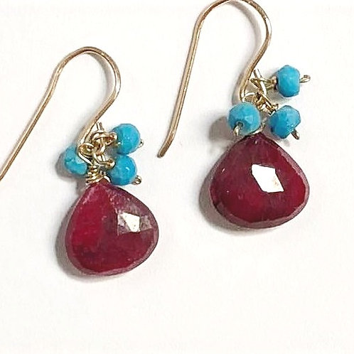 Ruby with Sleeping Beauty Turquoise Gems
