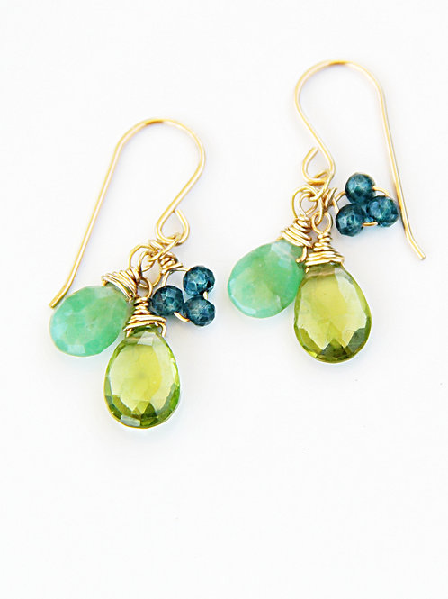 Chrysoprase, Peridot, and London Blue Topaz