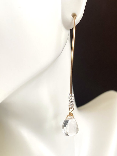 White topaz on elongated ear wire