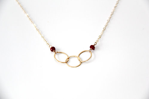 Three Circle Gold Ruby Necklace