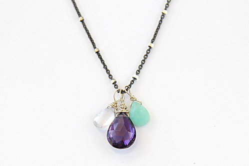 White Topaz, Amethyst, and Chrysoprase on Silver Chain