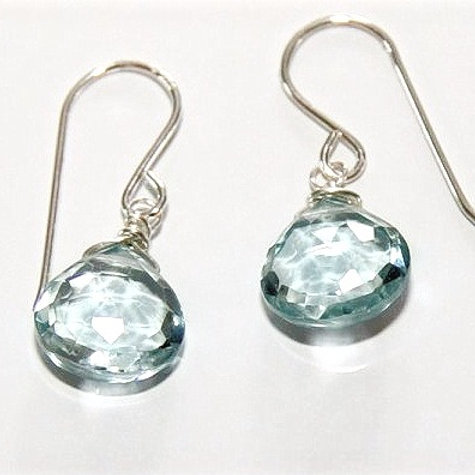 Heart Shaped Blue Topaz Drop Silver Earrings