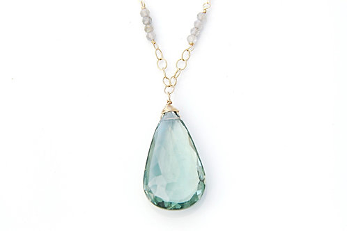 Large Green Amethyst Drop with Rondelles