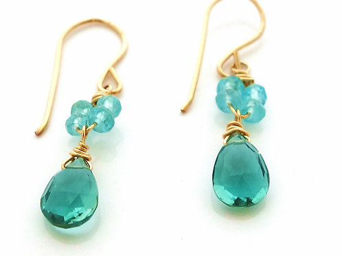 Apatite and Indicolite Quartz Earrings