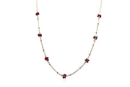Ruby Rondelle Flower Clusters on Gold Mixed Chain