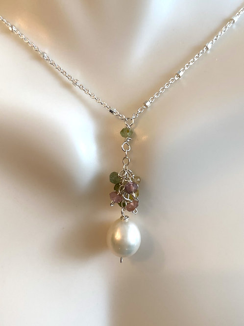Fresh water pearls with watermelon tourmaline rondelles cascading on sterling