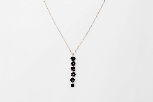 Black Spinel Rondelles Flower Necklace