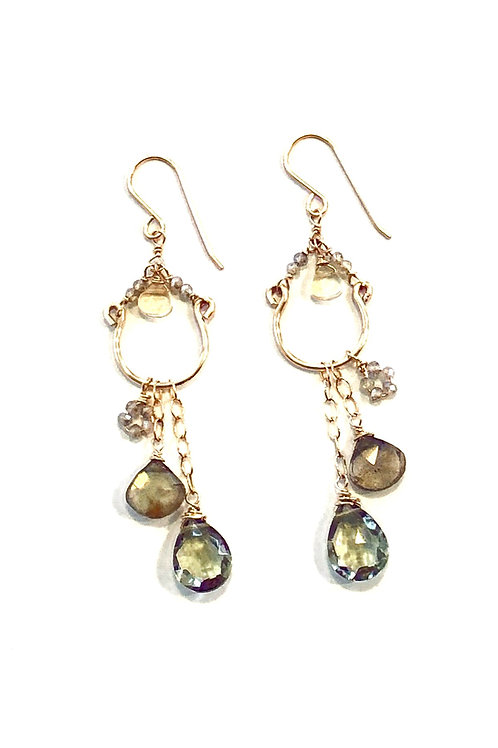 Chandelier Earrings in 14kt GF with Citrine, Green Amethyst, and Labradorite