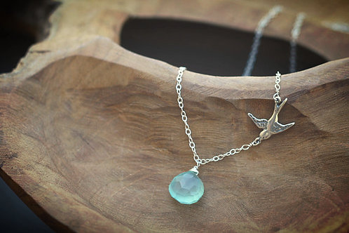 Chalcedony Stone Necklace with Silver Bird