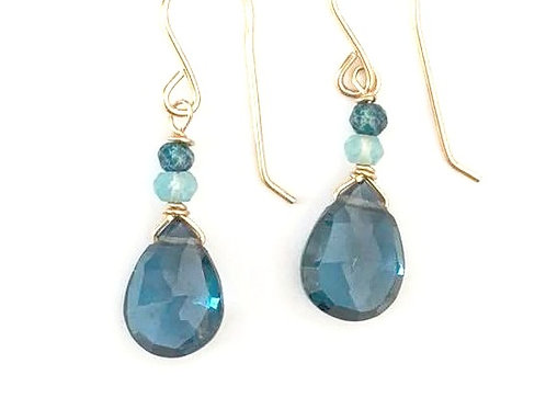 London Blue Topaz and Apatite Gold Earrings