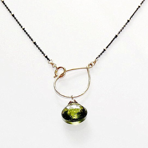 Peridot on Hand Forged Textured Gold Hoop