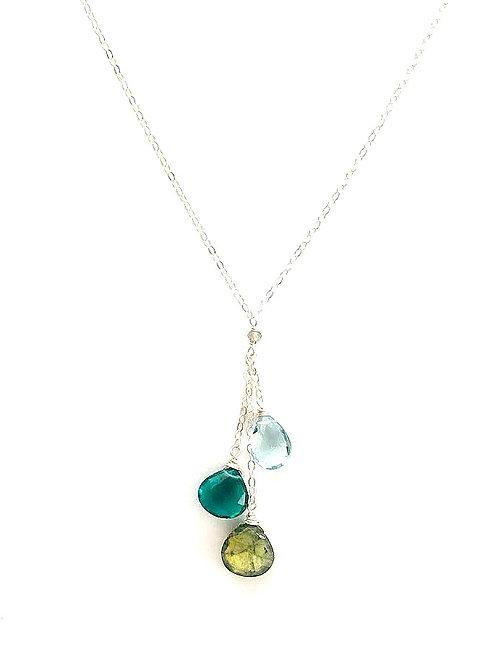 Blue Topaz, Indicolite Quartz, and Labradorite Silver Necklace