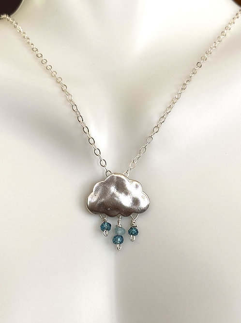 Cloud with London blue topaz and apatite in sterling silver