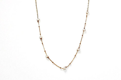 Tiny Pearl Flower Clusters on Gold Mixed Chain
