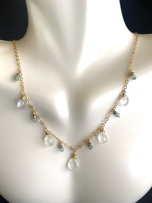 Rainbow Moonstone gold necklace with apatite and pyrite