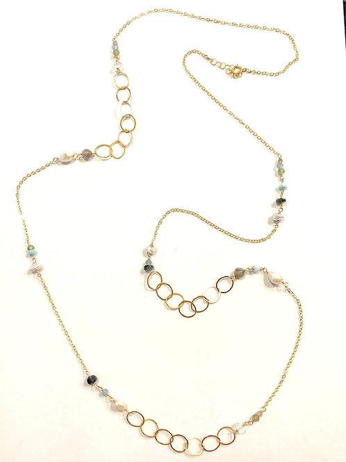 White Topaz, Labradorite, Aqua Marine, Apatite, Pearls, and Peridot