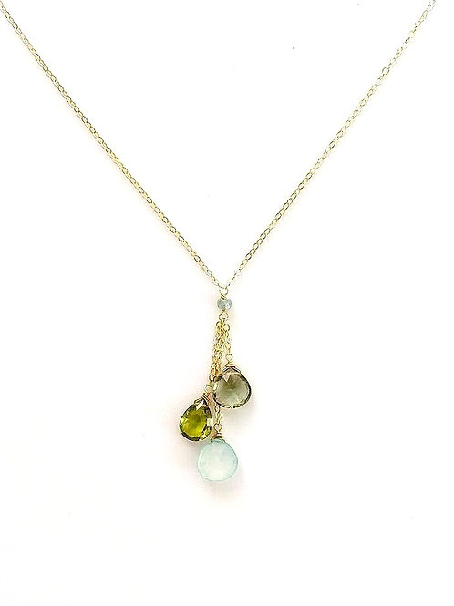 Green Amethyst, Peridot, and Chalcedony Gold Necklace
