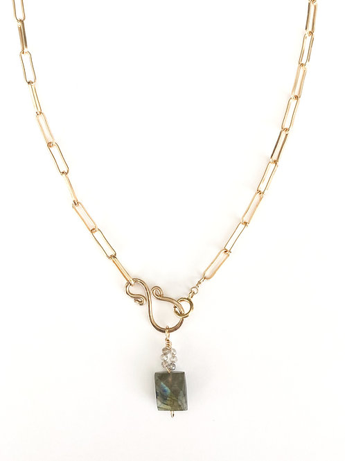 Contemporary Gold Chain with hand Forged textured Gold Link and Labradorite Pend