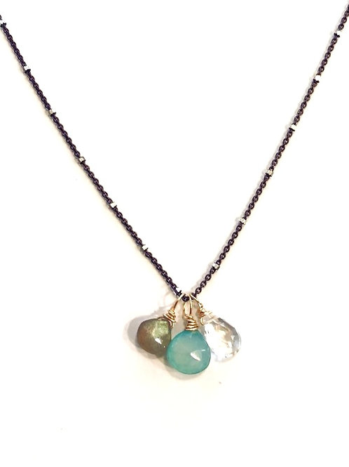 Labradorite, Chalcedony, & White Topaz on Gun Metal Sterling  Wire Wrapped