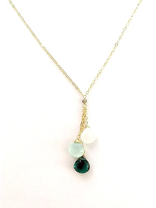 Moonstone, Chalcedony, and Indicolite Quartz Gold Necklace