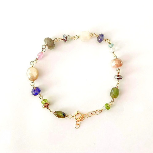 Multi Color Gemstone Gold Bracelet