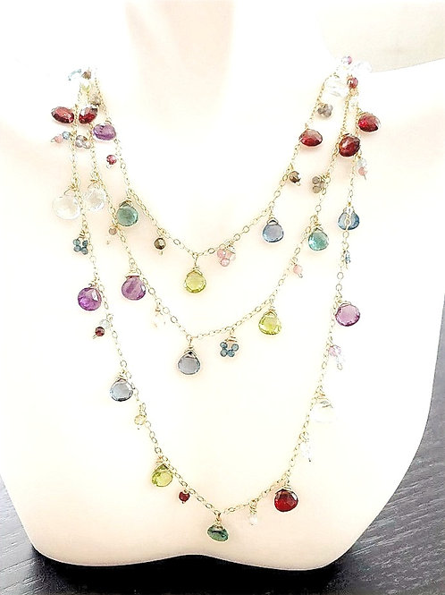 Long Multi Color Gems Necklace in Gold