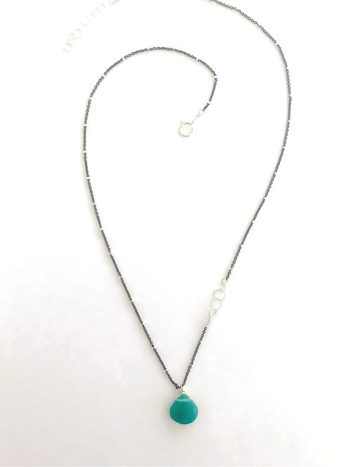 Asymmetrical Sterling Silver with Green Onyx