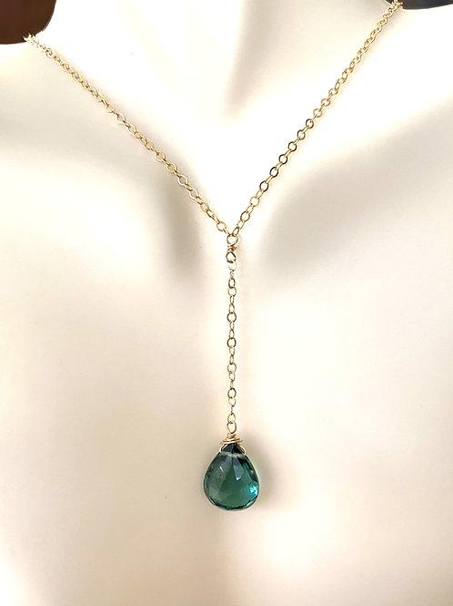 Indicolite Quartz Necklace on Gold