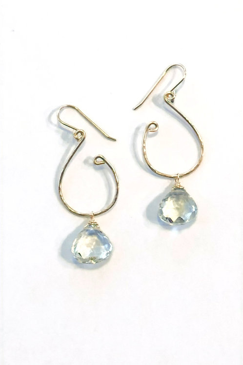 Green Amethyst Earrings in 14kt GF Hand Forged Textured Gold Hoops