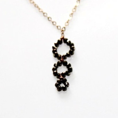 Tiny Pyrite Rondelle Circle Gold Necklace