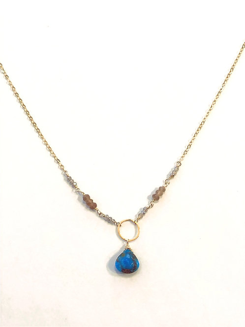 Copper Infused Turquoise Necklace in 14kt GF with Labradorite and Chocolate Moon