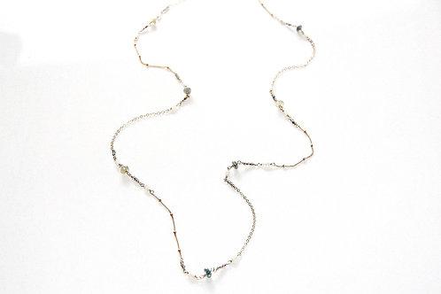 Long Aqua Marine, Labradorite, and Pearl Gold Necklace