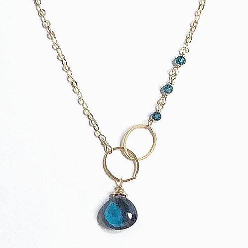 Gold London Blue Topaz Asymmetrical Necklace