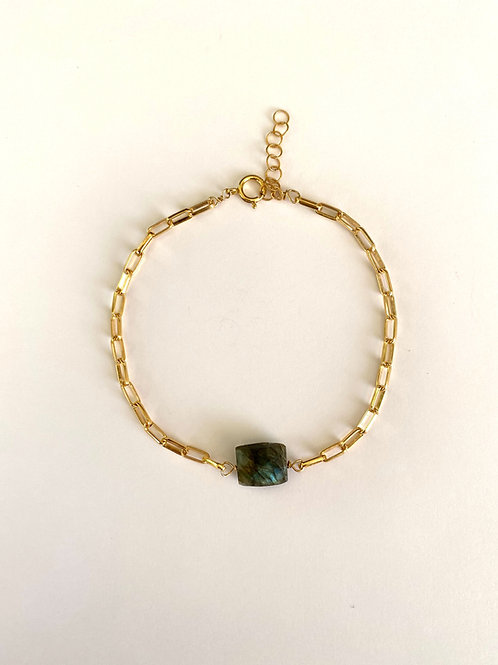 Rectangular labradorite on gold chain bracelet