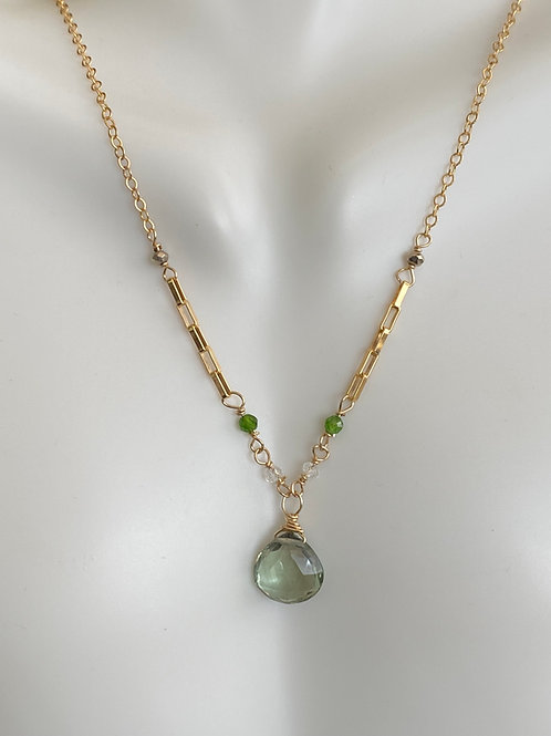 Green amethyst with white topaz, chrome diopside, and pyrite rondelles