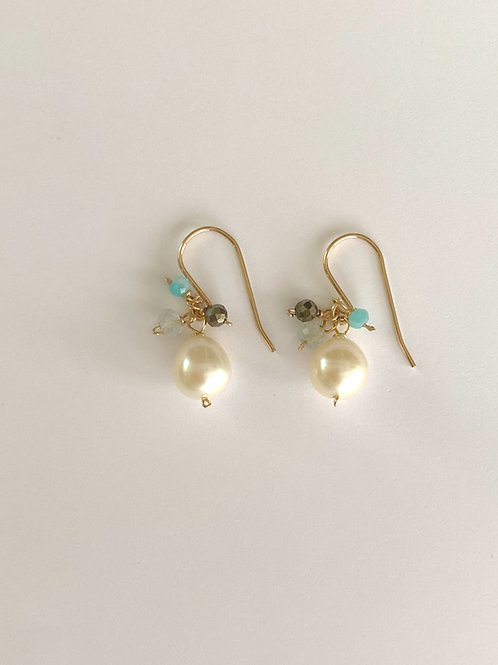 Fresh water pearl with amazonite, aqua marine, and pyrite rondelles in gold