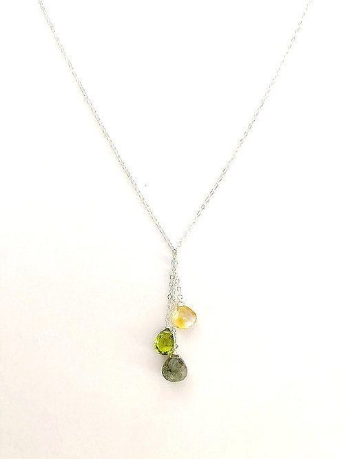 Citrine, Peridot, and Labradorite Silver Necklace