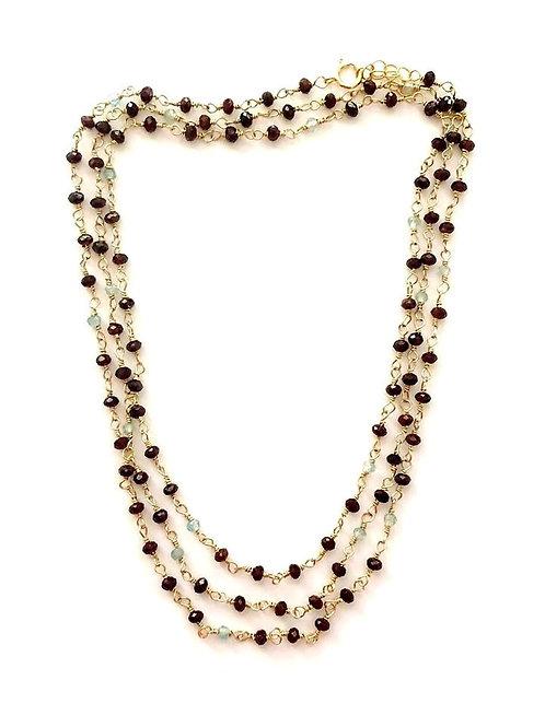 "38""  Long Gold Garnet and Labradorite Necklace"
