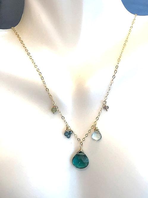 Indicolite Quartz, Blue Topaz, London Blue Topaz, Labradorite, Peridot on Gold
