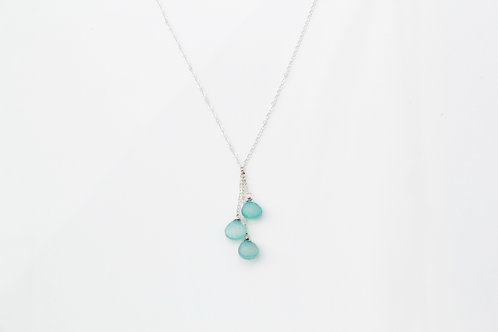 Chalcedony Triple Drop Silver Necklace