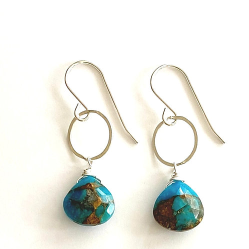 Copper Infused Turquoise on Sterling Silver Earrings