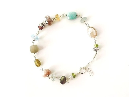 Multi Color Gemstone Silver Bracelet
