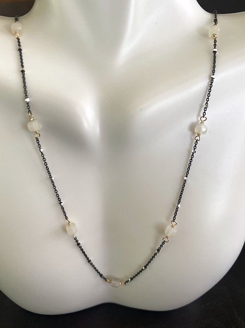 Moonstone cubes on gun metal sterling beaded chain with gold wire wrap