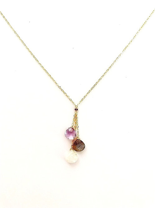 Pink Amethyst, Labradorite, and Moonstone Gold Necklace